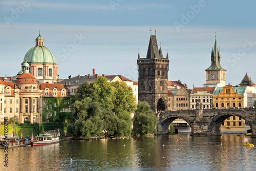 Photo sur Aluminium Prague Vltava river and Charles bridge, Prague, Czech republic