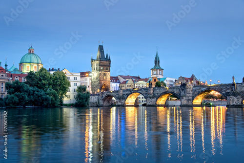 Vltava river and Charles bridge by night, Prague, Czech republic Poster