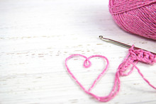 Pink Crochet Background With Y...