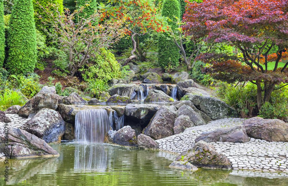 Fototapety, obrazy: Cascade waterfall in Japanese garden in Bonn