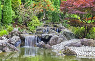 Obraz Cascade waterfall in Japanese garden in Bonn