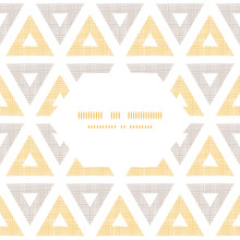 Abstract Textile Ikat Yellow Brown Triangles Frame Seamless