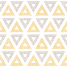 Abstract Textile Ikat Yellow Brown Triangles Seamless Pattern
