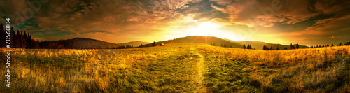 Obraz Panoramic view of the sunrise in the Tatra mountains - fototapety do salonu