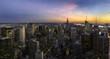 Manhattan sunset panorama, New york city