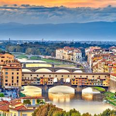 Obraz na Szkle Optyczne powiększenie Bridges over Arno river in Florence