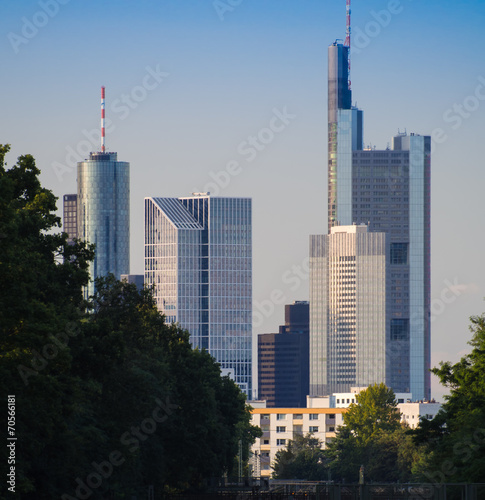 Garden Poster Oceania Skyline of business buildings in Frankfurt, Germany