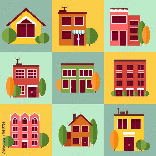 Foto op Plexiglas Op straat City buildings set in vector flat style