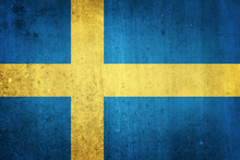 National Flag Of Sweden. Grungy Effect.