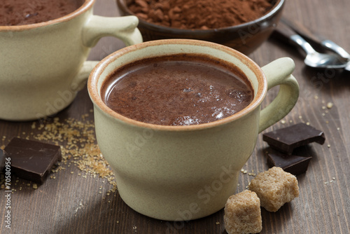Foto op Plexiglas Chocolade cup of hot chocolate and sugar cubes