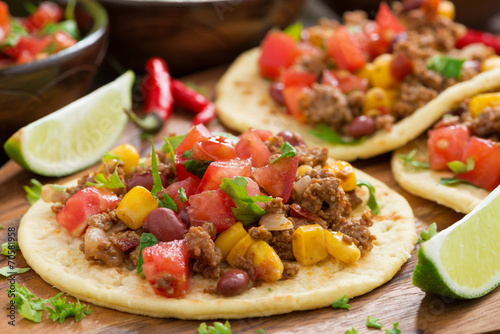 Vászonkép  tortillas with chili con carne and tomato salsa