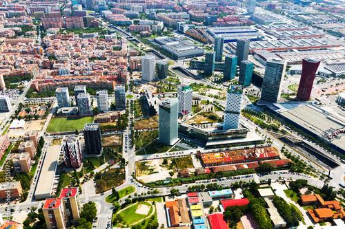 Tuinposter Barcelona skyscrapers at Sants-Montjuic district. Barcelona