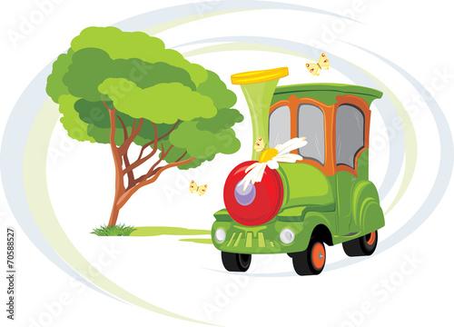 In de dag Regenboog Kids train. Park attraction