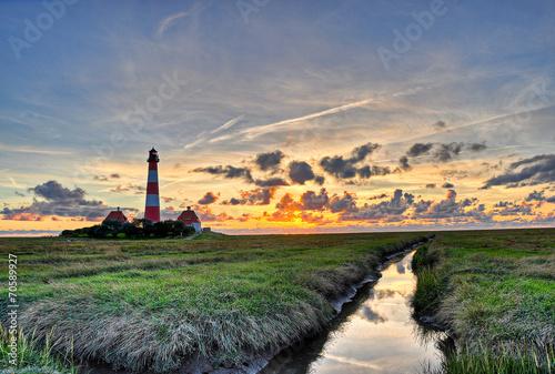 Keuken foto achterwand Noordzee Westerhever Leuchtturm