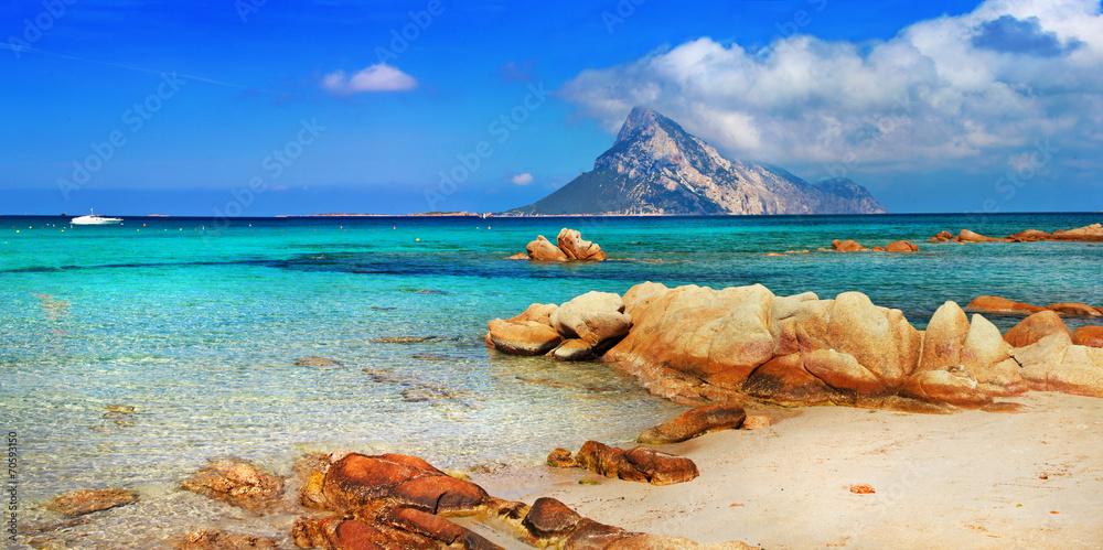 Photo  Sardinia holidays, azure sea , island Tavolara, Italy