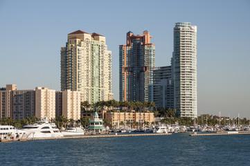 Fototapeta na wymiar Highrise buildings at Miami Beach Marina. Florida, USA