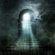 canvas print picture - Staircase leading to heaven or hell. Light at the End of the Tun