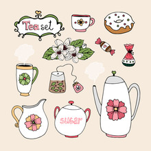 Set Of Vector Tea Service Icons