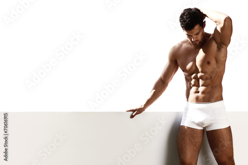 Sexy portrait male model in underwear Fototapeta
