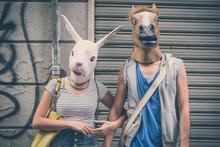 Horse And Rabbit Mask Couple O...