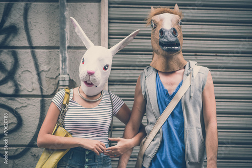 horse and rabbit mask couple of friends young  man and woman Wallpaper Mural