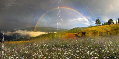 Poster de jardin Tempete panorama of mountain meadows in Transcarpathia