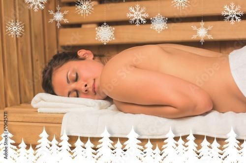 Fototapety, obrazy: Calm brunette lying down in a sauna