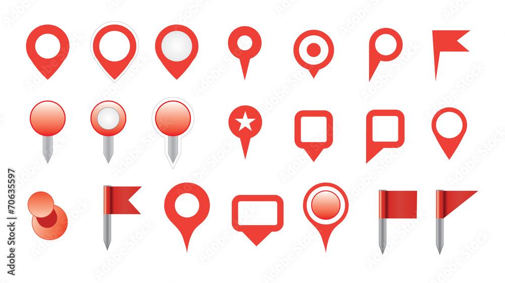 Fototapeta map pin icon set.