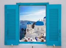 Window With View Of Caldera  And Church, Santorini