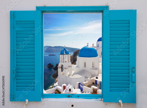 Fototapeta window with view of caldera  and church, Santorini obraz