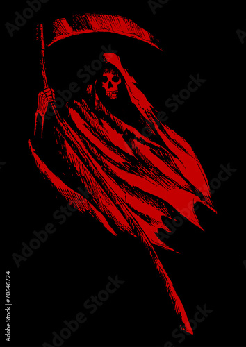 Sketch illustration of grim reaper on black background Canvas Print