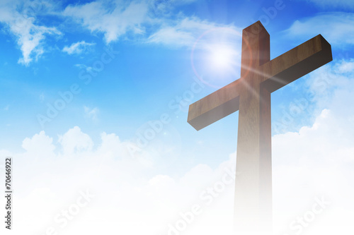 Fotografie, Obraz  A cross on clouds background