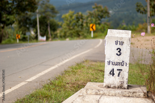 Milestone on the road to Pai, Mae Hong Son, Thailand Plakat