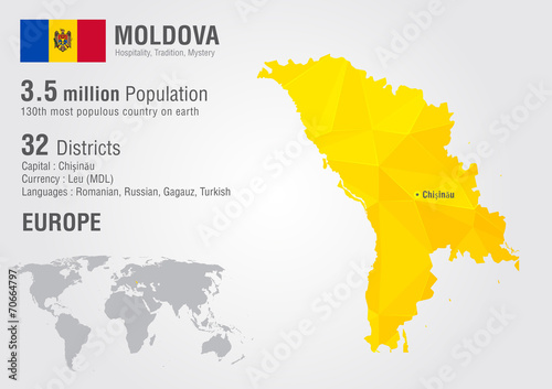 Fotomural Moldova world map with a pixel diamond texture.