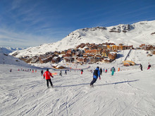 Landscape With Skiers On Ski Slope In The Resort Of Val Thorens, The Alps, France