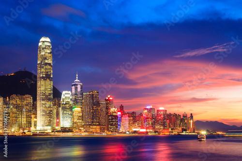 Fotografia  Hong Kong skyline at night, China