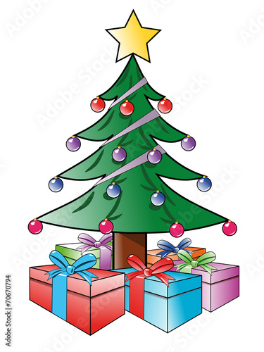 tannenbaum mit geschenken als vektorgrafik  kaufen sie