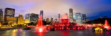 Chicago Skyline Panorama With Buckingham Fountain At Night, USA
