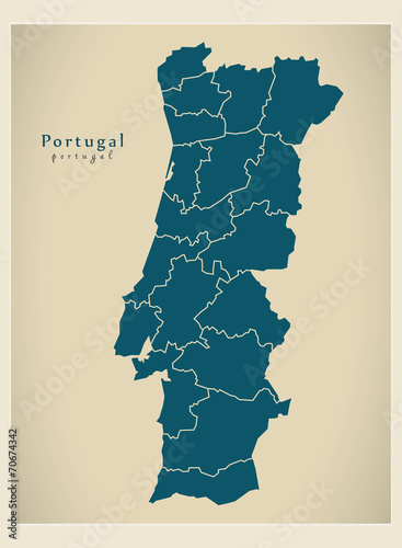 Modern Map - Portugal with districts PT Canvas Print