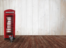 Vintage Raumdesign Mit Telefonbox Und Katze
