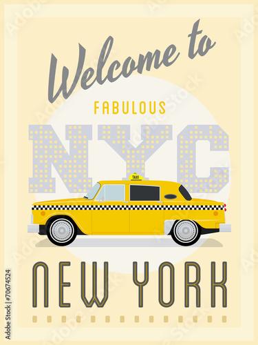 Retro New York Yellow Cab Poster Vector Illustration Fototapete