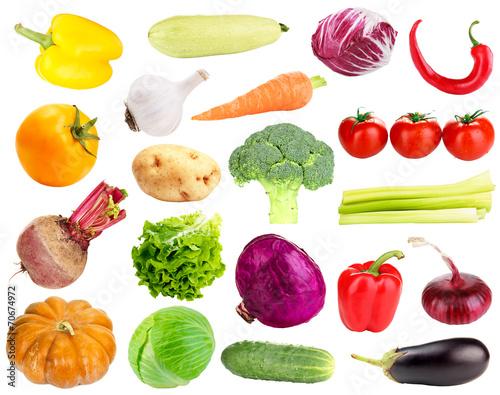 Obraz Collage of fresh vegetables isolated on white - fototapety do salonu