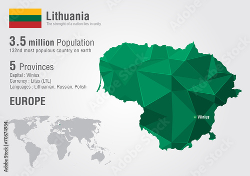 Lithuania world map with a pixel diamond texture. Canvas Print