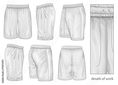 Men's white sport shorts. Canvas-taulu