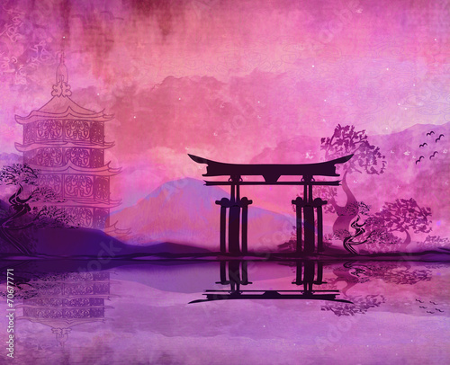 Aluminium Prints Candy pink Mountain Sunrise in Japan