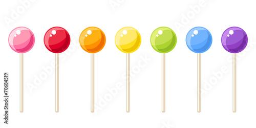 Fotografie, Obraz  Set of colorful lollipops. Vector illustration.