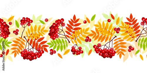 Fotografie, Obraz  Horizontal seamless background with autumn rowan branches.