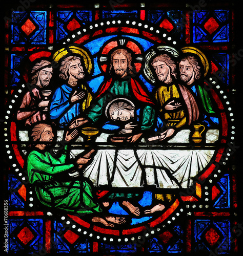 In de dag Stained Last Supper on Maundy Thursday - Stained Glass in Tours