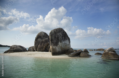 Foto op Plexiglas Indonesië Huge rocks on a sandy little island, in Indonesia