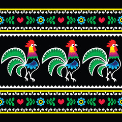 Polish folk art pattern with roosters on black - Wzory lowickie